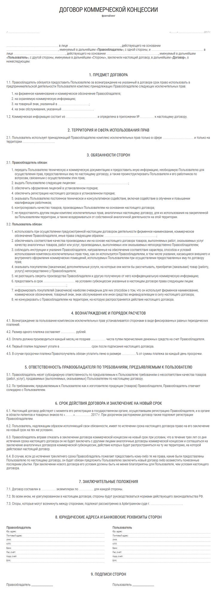 Образец договора коммерческой концессии