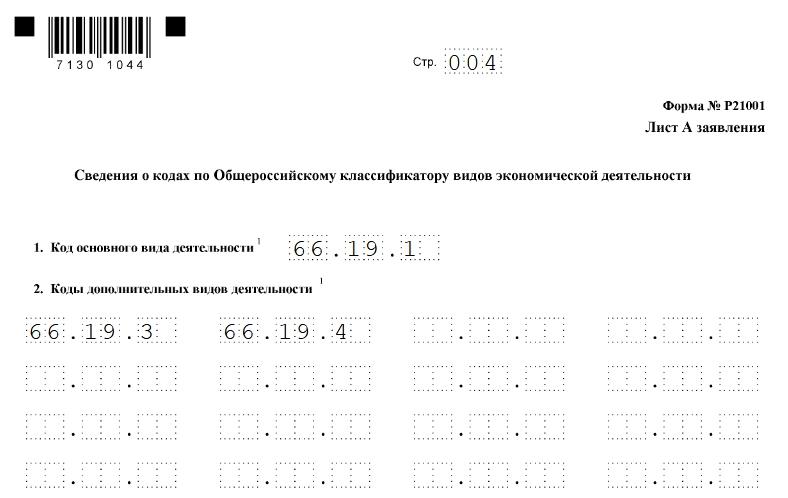 Заполнение формы Р21001: страница 4